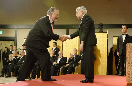 Francis Ford Coppola and Prince Hitachi at Praemium Imperiale Awards ceremony on October 16, 2013 at Meiji Kinenkan